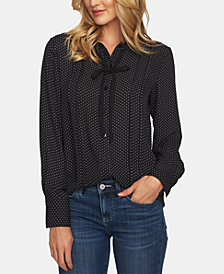 CeCe Pleated Tie-Neck Blouse