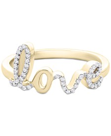 Diamond Love Ring (1/6 ct. t.w.) in 14k Gold or 14k White Gold, Created for Macy's
