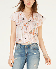 American Rag Juniors' Printed Flutter Peasant Top, Created for Macy's