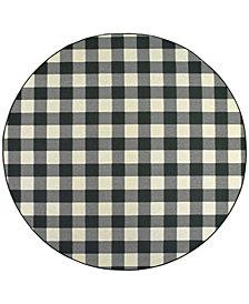 """Oriental Weavers Marina 1932K Black/Ivory 7'10"""" Indoor/Outdoor Round Area Rug"""