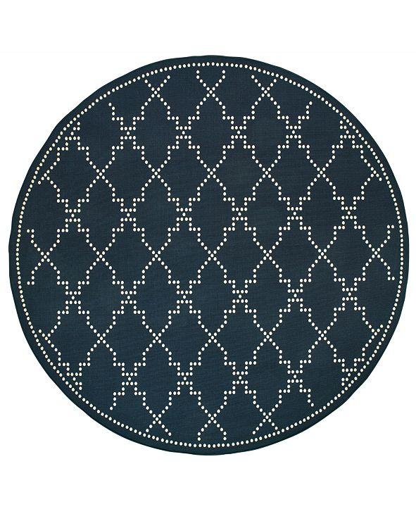 """Oriental Weavers Marina 7765 7'10"""" Indoor/Outdoor Round Area Rug"""