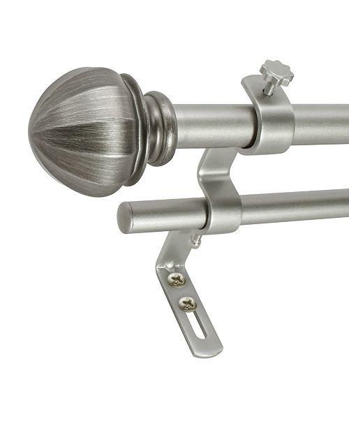 Decopolitan Montevilla 5/8-Inch Facet Ball Double Telescoping Curtain Rod Set, 48 to 86-Inch, Antique Silver