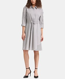 DKNY Striped Roll-Tab Shirtdress