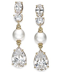 Gold-Tone Crystal & Imitation Pearl Drop Earrings, Created for Macy's