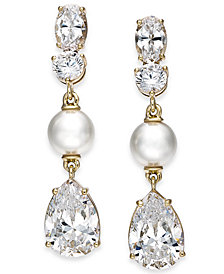 Eliot Danori Gold-Tone Crystal & Imitation Pearl Drop Earrings, Created for Macy's