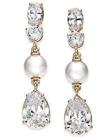 Eliot Danori Gold-Tone Crystal & Imitation Pearl Drop Earrings, Created for Macy's