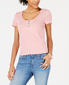 American Rag Juniors' Lettuce-Edge Henley Top, Created for Macy's