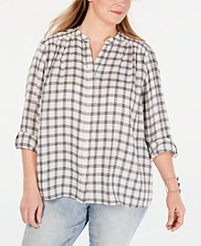 Style & Co Plus Size Cotton Plaid Smocked Shirt, Created for Macy's