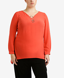 NY Collection Plus Size Three-Ring Top