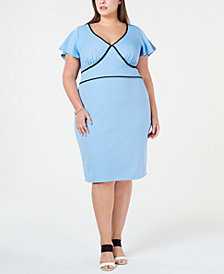 Love Squared Trendy Plus Size Piped Sheath Dress