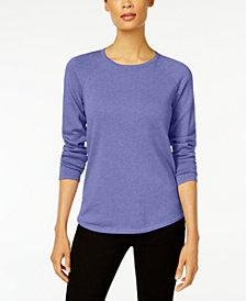 Karen Scott Petite Cotton Scoop-Neck 3/4-Sleeve Top, Created for Macy's