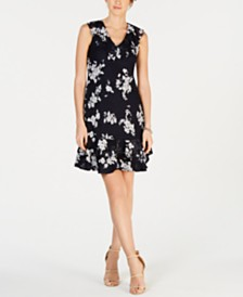 Robbie Bee Petite Printed Ruffled A-Line Dress