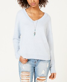 Hippie Rose Juniors' V-Neck Waffle-Knit Top