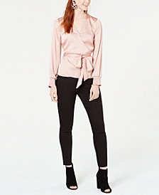 Bar III Wrap Blouse & Skinny Pants, Created for Macy's