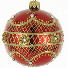 "Shiny Red & Gold 4 Pc Set of Mouth Blown & Hand Decorated European Glass 4"" Round Holiday Ornaments"