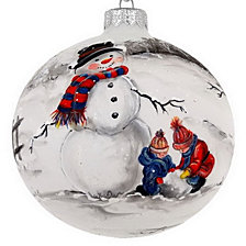 "Hand Painted Snowman on Mouth Blown & Hand Decorated European 4"" Round Holiday Ornament"