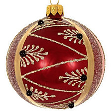 "Burgundy Pearl 4 Pc Set of Mouth Blown & Hand Decorated European 4"" Round Holiday Ornaments"