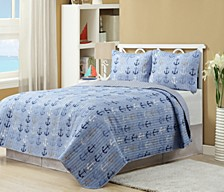 Anchors Blue 3 Piece Quilt Set Full/Queen