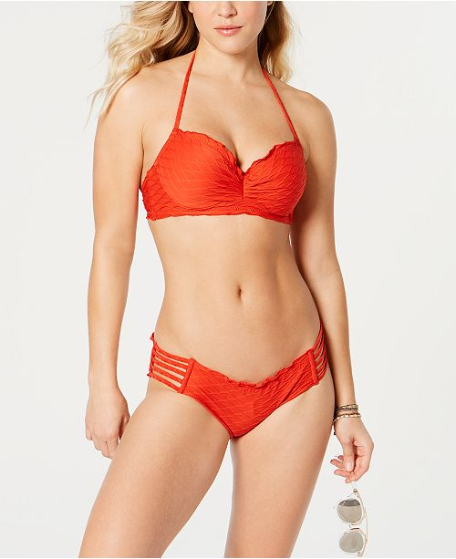 SUNDAZED Nixie Underwire Bra-Sized Halter Bikini Top & Beach Waves Strappy Ruffled Bottoms, Created for Macy's