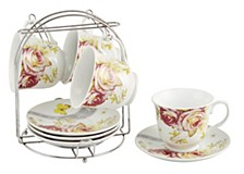 Set of 4 Coffee Cups On Metal Stand