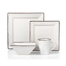 16 Piece Square Beaded Stoneware Dinnerware set, Service for 4