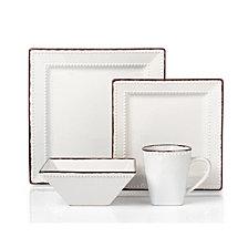 Lorren Home Trends 16 Piece Square Beaded Stoneware Dinnerware set
