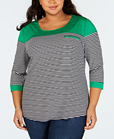 NY Collection Plus Size Striped 3/4-Sleeve Top