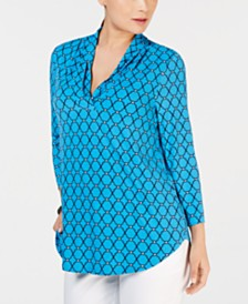 Charter Club Pleated V-Neck Printed Knit Shirt, Created for Macy's