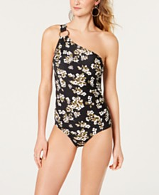 MICHAEL Michael Kors One-Shoulder Floral One-Piece Swimsuit, Created for Macy's