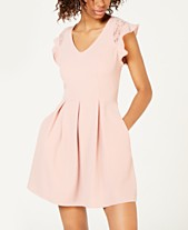 c1dc46c72 Speechless Juniors' Flutter-Sleeve Fit & Flare Dress