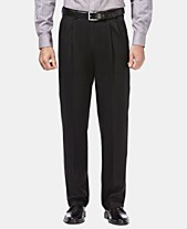 Haggar Men s Premium No Iron Khaki Classic Fit Pleat Hidden Expandable  Waist Pants b15ae2f3ca41