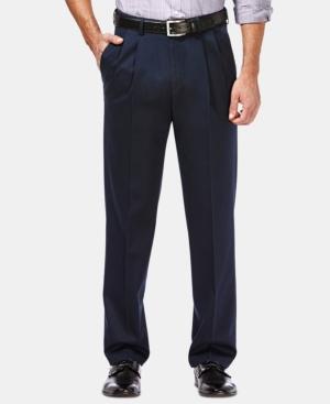 Men's Premium No Iron Khaki Classic Fit Pleat Hidden Expandable Waist Pants
