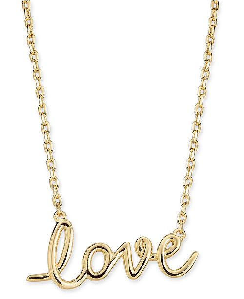 "kate spade new york  Gold-Tone ""Love"" 19"" Pendant Necklace"