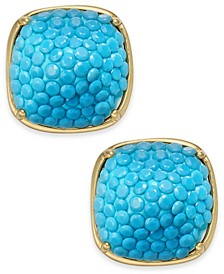 Gold-Tone Turquoise Square Stud Earrings