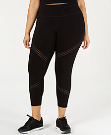 Calvin Klein Performance Plus Size High-Waist Mesh-Trimmed Leggings