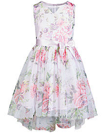 Pink & Violet Big Girls Floral-Print Mesh Dress