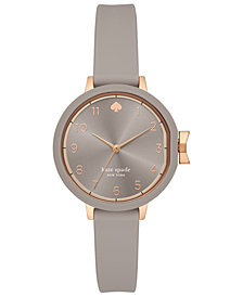 kate spade new york Women's Park Row Gray Silicone Strap Watch 34mm