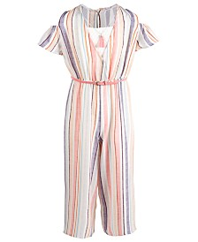 Beautees Big Girls 2-Pc. Striped Jumpsuit & Necklace Set