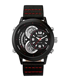Mens Black Silicone Strap Watch with Ana-Digi Dial, 48MM