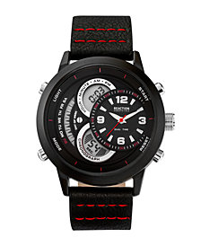 Kenneth Cole Reaction Mens Black Silicone Strap Watch with Ana-Digi Dial, 48MM