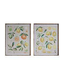 Fruit Image Wood Framed Canvas Wall Décor, Set of 2