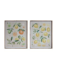 Fruit Image Wood Framed Canvas Wall Décor, Set of 2