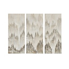 Madison Park Sterling Mist Hand Brush Embellished Canvas, Set of 3