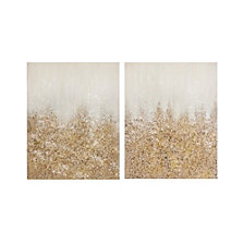 Madison Park Golden Glimmer Hand Brush Embellished Canvas, Set of 2
