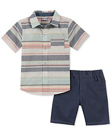 Toddler Boys 2-Pc. Striped Woven Shirt & Shorts Set