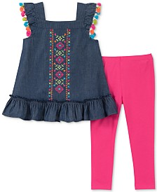 Kids Headquarters Little Girls 2-Pc. Chambray Tunic & Leggings Set