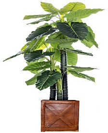 "Laura Ashley 81"" Tall Indoor-Outdoor Elephant Ear Plant Artificial Indoor/ Outdoor Decorative Faux in Fiberstone Planter"