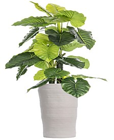 "93"" Tall Indoor-Outdoor Elephant Ear Plant Artificial Indoor/ Outdoor Decorative Faux in Fiberstone Planter"