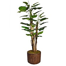 "71"" Tall Scindapsus Artificial  Faux Contemporary Aureus W/Burlap In 12.8"" Brown Wood-like Fiberstone Planter"