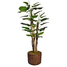 "Laura Ashley 71"" Tall Scindapsus Artificial  Faux Contemporary Aureus W/Burlap In 12.8"" Brown Wood-like Fiberstone Planter"